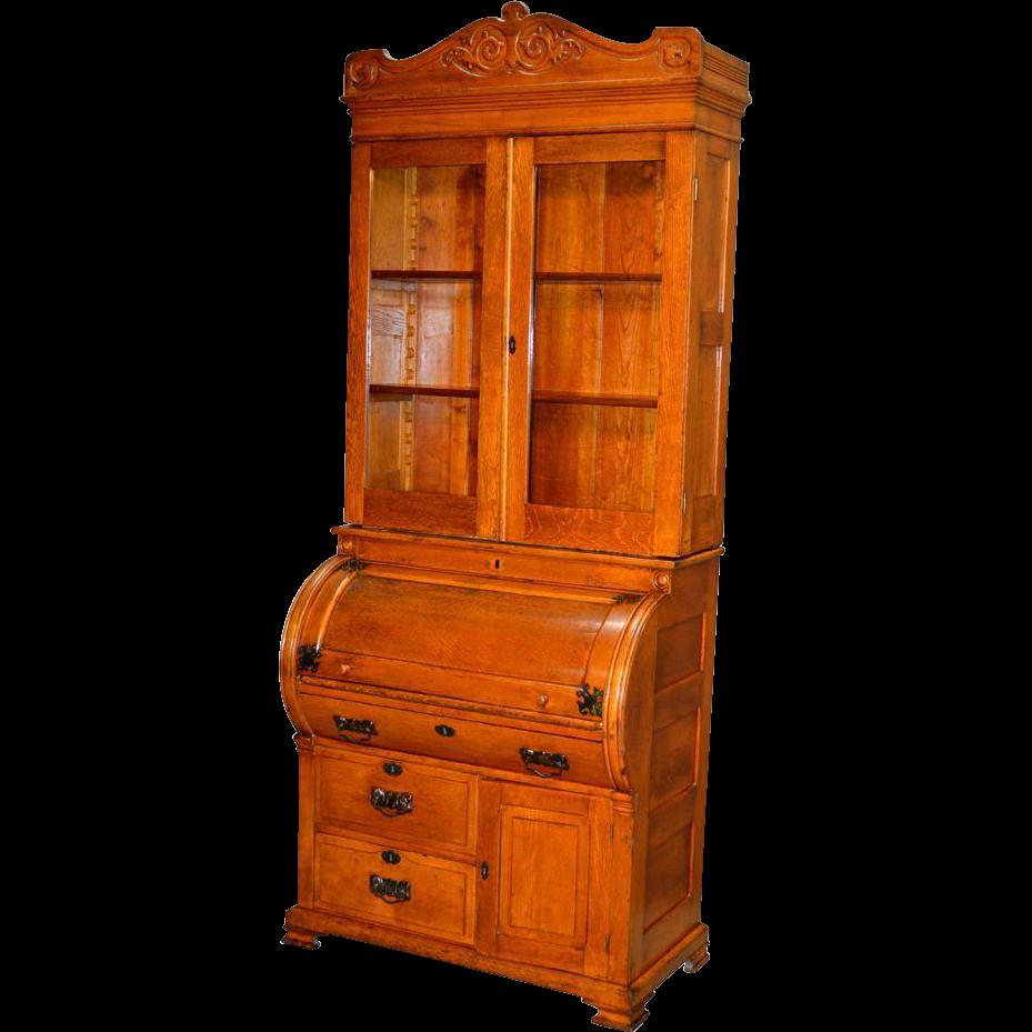 Antique Oak Cylinder Secretary Desk From