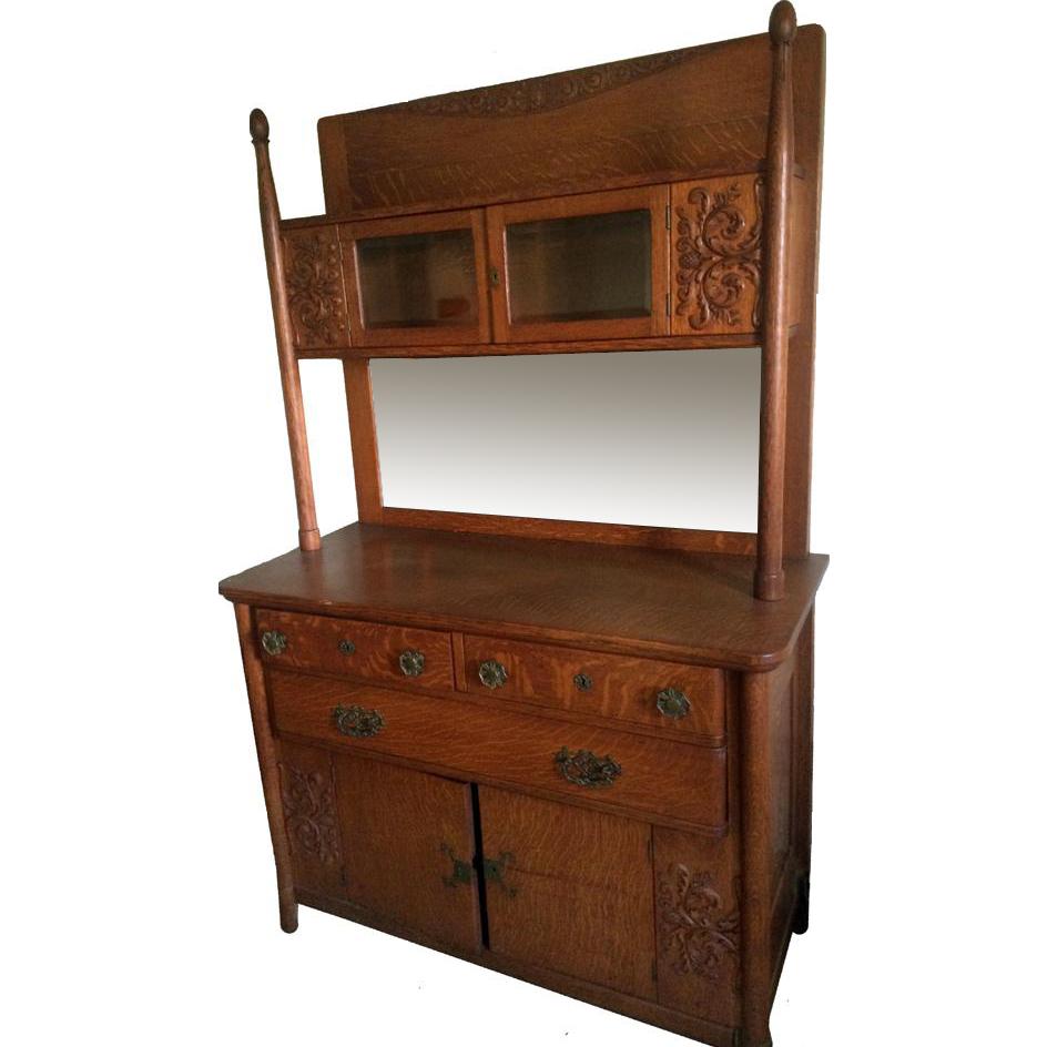 Unusual Oak Curio Top Sideboard Paine Furniture From