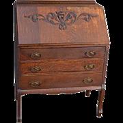 Antique Victorian Oak Slant Top Desk with Lion Face Carving