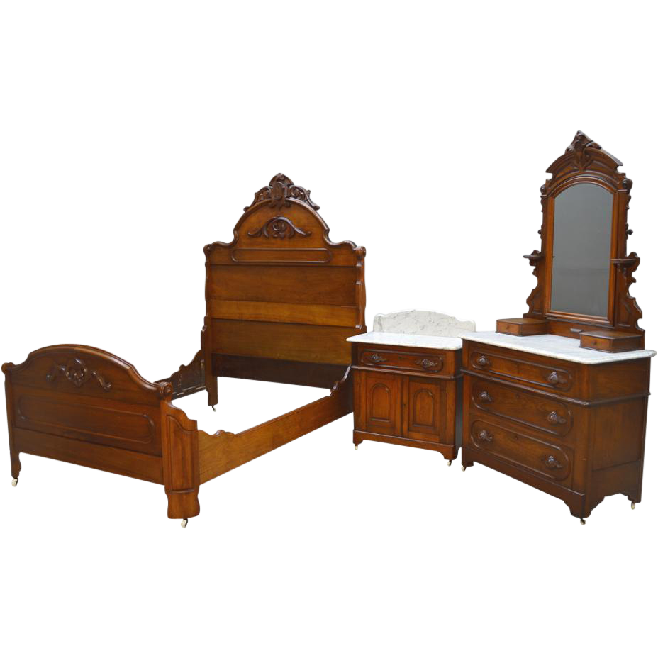 Antique 3 Three Piece Victorian Marble Top Bedroom Set