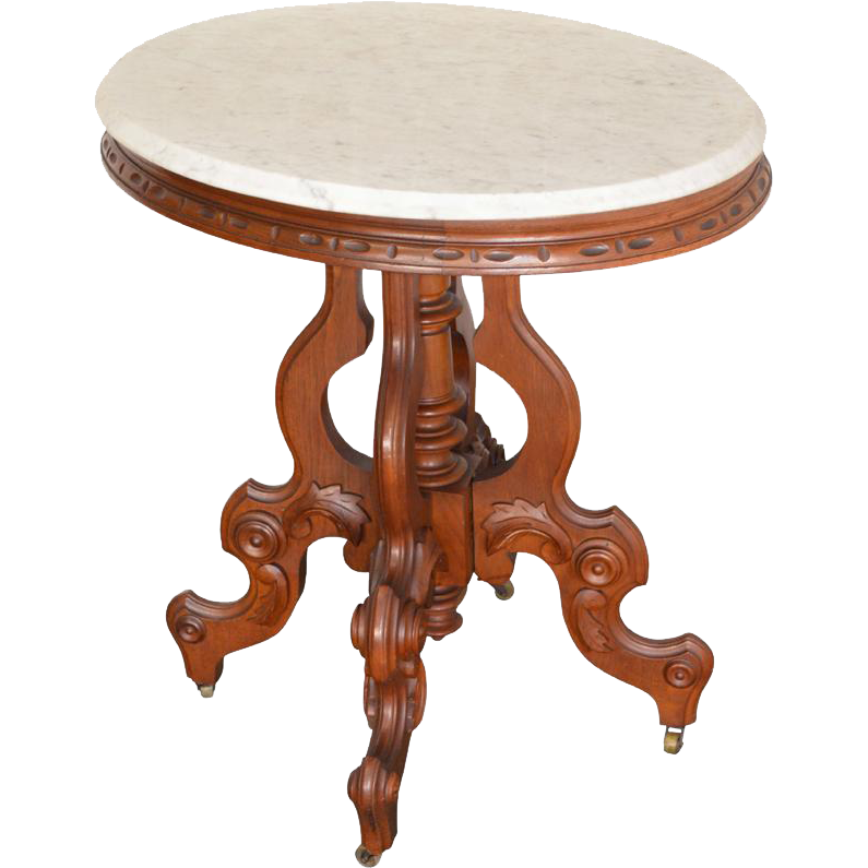 Antique Victorian Oval Carved Marble Top Table From