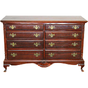 Vintage Mahogany Chippendale 8 Drawer Carved Chest