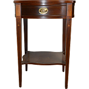 Mahogany Inlaid Hepplewhite Nightstand by Baker