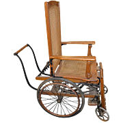 18186 Very Rare Victorian Oak Wheel Chair Wheelchair - Made by Sargent Company of New York