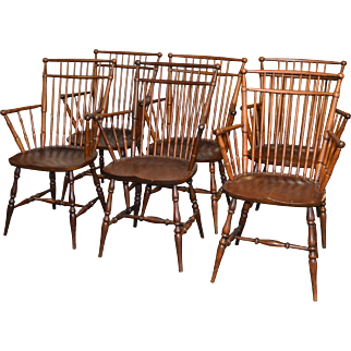 Set of 6 Windsor Type Arm Chairs by Paine - RARE!!