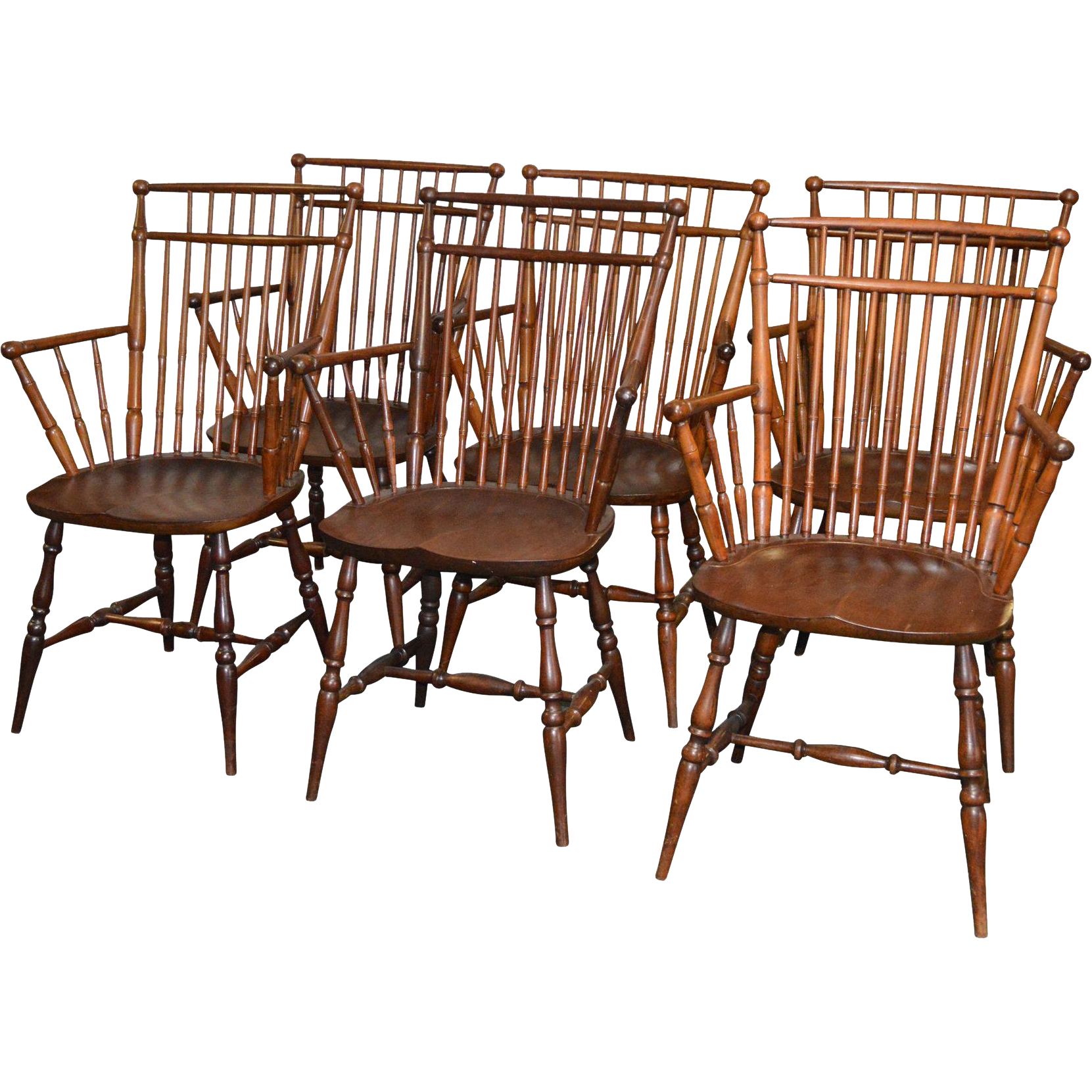 Set of 6 Windsor Type Arm Chairs by Paine RARE from