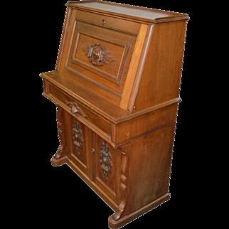 Antique Victorian Walnut Slant Top Secretary Desk
