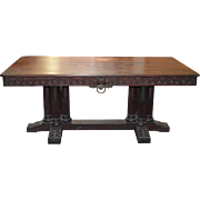 Empire Gothic Style Library Table w/ Lion Faces