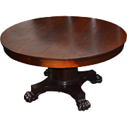 Empire Mahogany Claw Foot  Dining Room Table - 5 Leaves