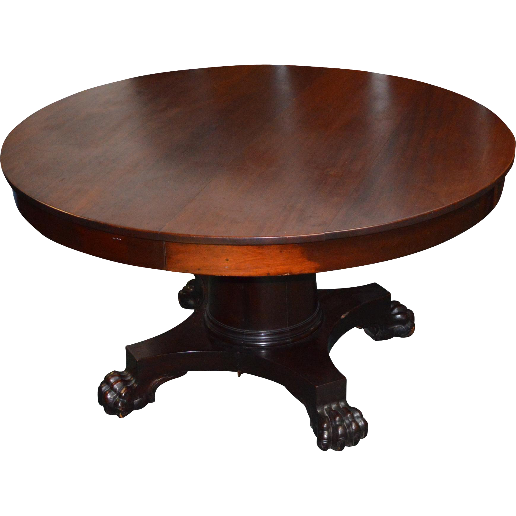Empire mahogany claw foot dining room table 5 leaves for 5 foot dining room table