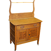 Oak Victorian Commode / Wash Stand with Towel Bar