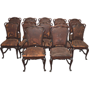 Rare Set of 12 Mahogany Art Nouveau Leather Dining Chairs