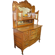 18213 Oak Carved Sideboard/China Buffet