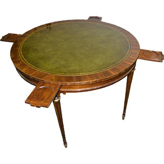 Mahogany Formal Leather Top Poker Table
