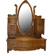 Unusual Oak Victorian Carved Dresser with Bevel Mirror