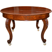 Round Burl Walnut Banquet Table with 7 Leaves Open 13 Feet!