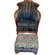 French Carved Chair and Ottoman