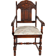 Set of 6 Oak Heavily Carved Dining Chairs