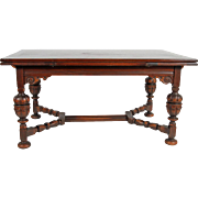 Oak Jacobean Draw Leaf Dining or Computer Table