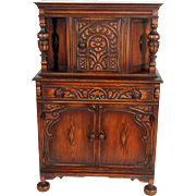 Oak Carved Jacobean Bar Cabinet