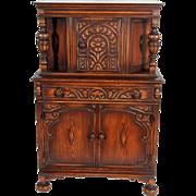 Oak Carved Jacobean Bar Cabinet