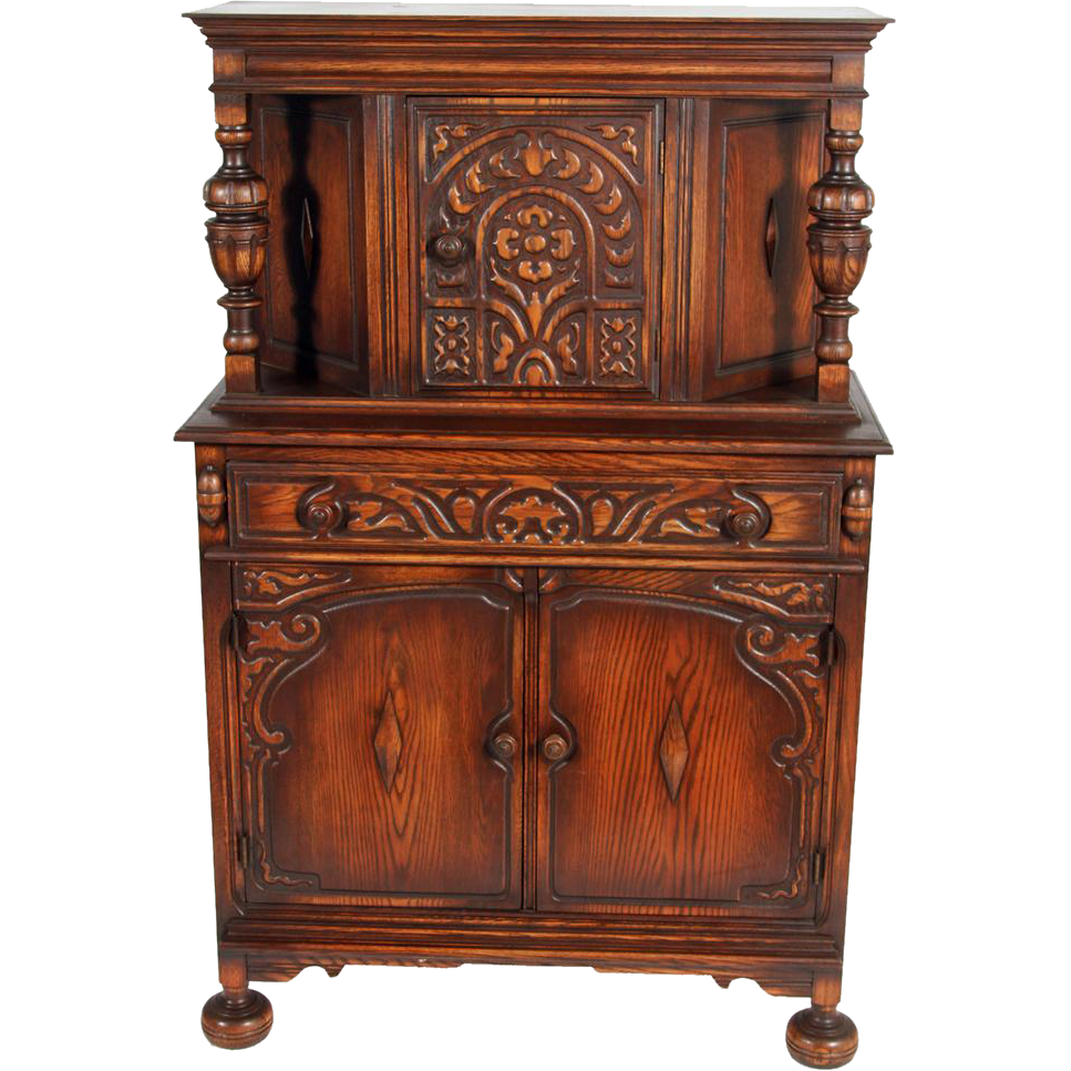 Oak Carved Jacobean Bar Cabinet from maineantiquefurniture on Ruby ...