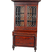 Empire Flame Mahogany Civil War Era Secretary Desk