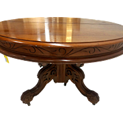 Victorian Carved Walnut Dining Table – 4 Leaves