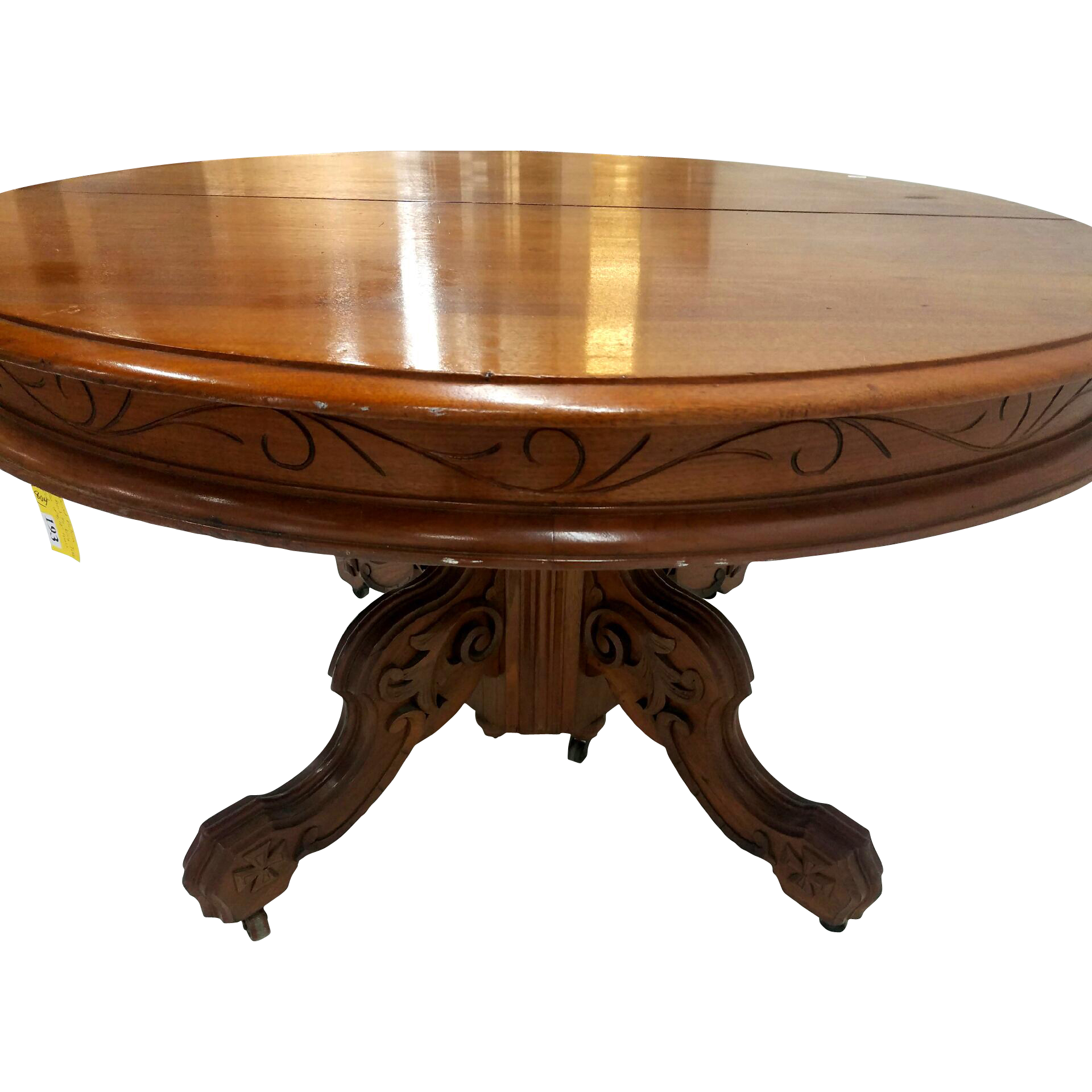 Victorian carved walnut dining table leaves from