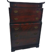 Flame Mahogany Carved Tall Chest