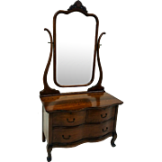 Oak Ladies Princess Dresser with Tall Bevel Glass Mirror