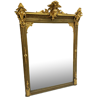 Exceptional Victorian Multi-Gold Mantle Mirror w/ Jenny Lind