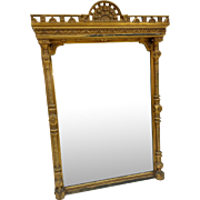 Gold Gilded Hall Mirror with Pillars of Victorian Era
