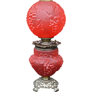 Victorian Red Satin Glass Gone with the Wind Lamp