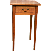 Early Tiger Maple Tapered Leg One Drawer Stand