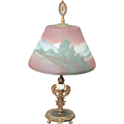 Reverse Painted Early 1900s Table Lamp