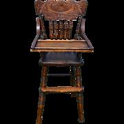Oak Press Back Children's High Chair