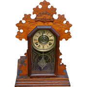 Ingraham Oak Shelf Gingerbread Mantle Clock