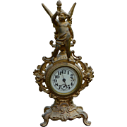 Victorian Gold Figural Mantle Clock with Cherub