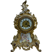 Victorian Gold Cast Metal Mantle Clock
