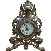 Victorian Cast Metal Mantle Clock with Devil Heads and Angel