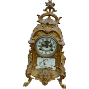 Victorian Cast Gold Wash Metal Shelf Clock by Waterbury