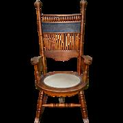 Oak Press Back Round Seat Rocking Chair