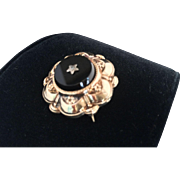 Victorian 10K Gold Onyx Mourning Pin Pendant Brooch with Seed Pearl