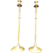 19th Century Pair of Very Tall Antique Brass Candlesticks 21 Inches
