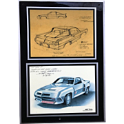 Vintage Dick Teague Authentic Signed Dated Schematic & Advertising Image Plaque AMX Turbo 1981