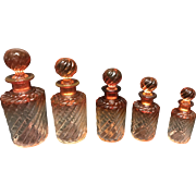 Set of 5 Antique Baccarat Crystal Amberina Bamboo Rose Tiente Sent Bottle with Stoppers 1890s