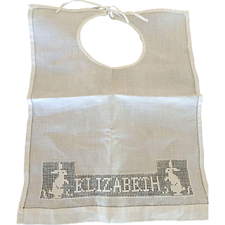 Vintage Pulled Thread Embroidery Monogrammed, Elizabeth, Child's Bib with Rabbits So Pretty