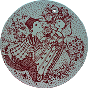 Vintage Bjorn Wiinblad Denmark Nymolle Ceramic Wall Plaque Juni Roser Signed