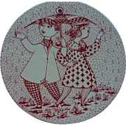 Vintage Bjorn Wiinblad Denmark Nymolle Ceramic Wall Plaque April Konflikt Signed